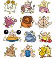overweight cartoon zodiac signs vector image vector image