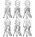 Sad girls and boys with a broken leg in a cast vector image
