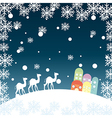 christmas landscape with camels snowflakes and hou vector image