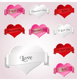 white red and pink valentine hearths and ribbon vector image