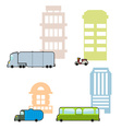 Set Municipal transport and public buildings vector image vector image