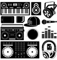DJ sound equipment black icons vector image