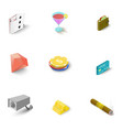 casino icons set isometric style vector image