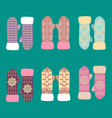 collection of different knitted winter mittens vector image
