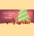dog and gifts near the christmas tree banner vector image