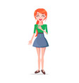 laughing young woman cartoon flat character vector image