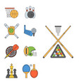 set of sport icons in flat design line pictogram vector image
