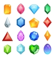 Gems and diamonds icons set in different colors vector image