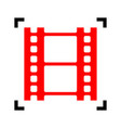 reel of film sign  red icon inside black vector image