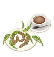 Hot Coffee with Tamarind Pod and Leaves vector image vector image