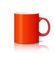 Blank bright red photo realistic cup isolated on vector image