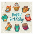 Happy birthday card with owls vector image