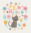 floral card with cat vector image