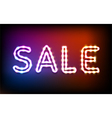 Glowing neon sale frame with light bulbs vector image