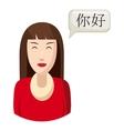 Woman translator icon cartoon style vector image