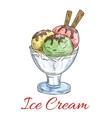 Ice cream scoops dessert in glass vector image vector image