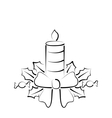 Christmas candle with bow freehand style vector image vector image