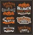 Set of Halloween typographic design vector image