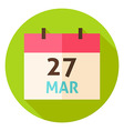 March 27 Easter Calendar Date Circle Icon vector image