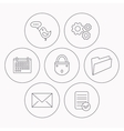 Lock folder hand and e-mail icons vector image