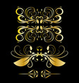color gold vintage decorations elements black vector image