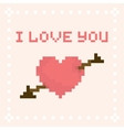 Pixel art I love you valentines day card vector image