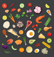food and ingredients background flat design vector image