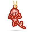 Rose and hearts Label tag hanging on golden chain vector image
