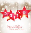 hanging 2015 star on magical winter background vector image