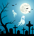 Graveyard with ghosts vector image