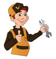 a handyman holding a wrench and giving thumbs up vector image