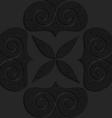 Black textured plastic big solid swirly hearts vector image