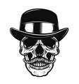 human skull in vintage hat vector image