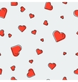 Seamless pattern with red hearts vector image