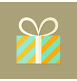 Striped Christmas Present Box Flat Icon vector image