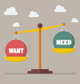 Want and need balance on the scale vector image
