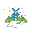 windmill building on a green hill near the houses vector image