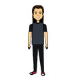 young man head with long hair avatar character vector image