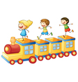 kids on train vector image