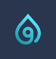 Letter G number 9 water drop logo icon design vector image