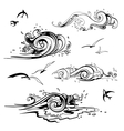 Sea waves set Hand drawn vector image