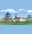 Russian suzdal city kremlin landscape travel vector image