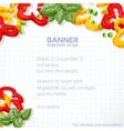 Big paper into the cell banner with sweet peppers vector image