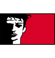 Young determined activist with dramatic face vector image