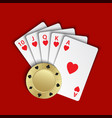a royal flush of hearts with gold poker chip on vector image