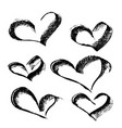 abstract heart drawn in ink by hand vector image