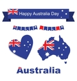 Australia flag banner and heart icon patterns set vector image