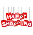 colorful hanging cardboard Tags - happy vector image