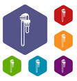 pipe or monkey wrench icons set vector image