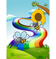 Two bees at the hilltop and a rainbow in the sky vector image